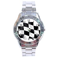 Flag Chess Corse Race Auto Road Stainless Steel Analogue Watch