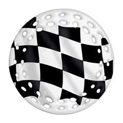 Flag Chess Corse Race Auto Road Ornament (Round Filigree)