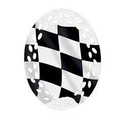 Flag Chess Corse Race Auto Road Oval Filigree Ornament (Two Sides)