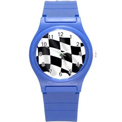 Flag Chess Corse Race Auto Road Round Plastic Sport Watch (s)
