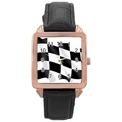 Flag Chess Corse Race Auto Road Rose Gold Leather Watch