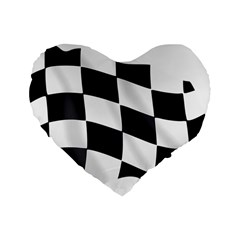Flag Chess Corse Race Auto Road Standard 16  Premium Flano Heart Shape Cushions