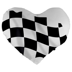 Flag Chess Corse Race Auto Road Large 19  Premium Flano Heart Shape Cushions