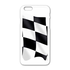 Flag Chess Corse Race Auto Road Apple Iphone 6/6s White Enamel Case