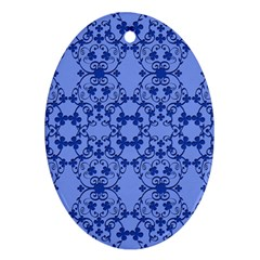 Floral Ornament Baby Boy Design Ornament (oval)