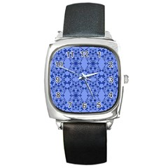 Floral Ornament Baby Boy Design Square Metal Watch