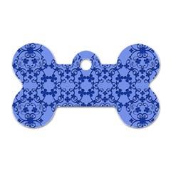 Floral Ornament Baby Boy Design Dog Tag Bone (two Sides)