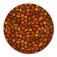 Pattern Background Ethnic Tribal Round Mousepads