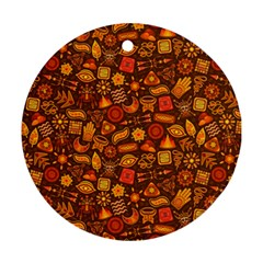 Pattern Background Ethnic Tribal Round Ornament (two Sides)