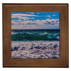Wave Foam Spray Sea Water Nature Framed Tiles