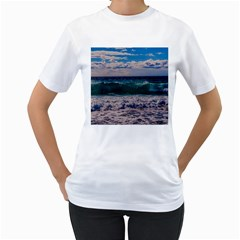 Wave Foam Spray Sea Water Nature Women s T Shirt (white) (two Sided)