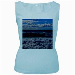 Wave Foam Spray Sea Water Nature Women s Baby Blue Tank Top