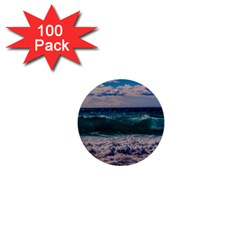 Wave Foam Spray Sea Water Nature 1  Mini Buttons (100 Pack)