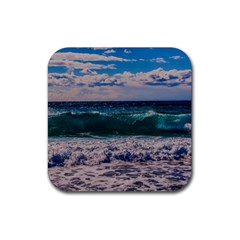 Wave Foam Spray Sea Water Nature Rubber Square Coaster (4 Pack)