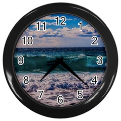 Wave Foam Spray Sea Water Nature Wall Clocks (black)