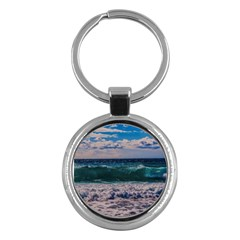Wave Foam Spray Sea Water Nature Key Chains (Round)
