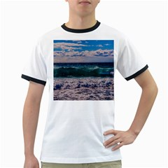 Wave Foam Spray Sea Water Nature Ringer T Shirts