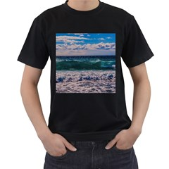 Wave Foam Spray Sea Water Nature Men s T Shirt (black) (two Sided)