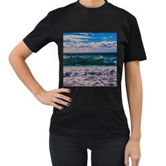 Wave Foam Spray Sea Water Nature Women s T-Shirt (Black) (Two Sided)