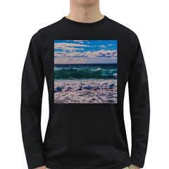 Wave Foam Spray Sea Water Nature Long Sleeve Dark T Shirts
