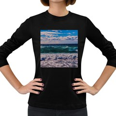Wave Foam Spray Sea Water Nature Women s Long Sleeve Dark T Shirts