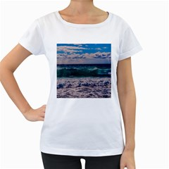 Wave Foam Spray Sea Water Nature Women s Loose Fit T Shirt (white)