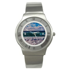 Wave Foam Spray Sea Water Nature Stainless Steel Watch