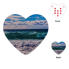 Wave Foam Spray Sea Water Nature Playing Cards (heart)