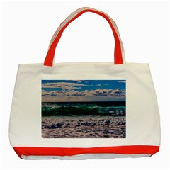 Wave Foam Spray Sea Water Nature Classic Tote Bag (red)