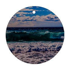 Wave Foam Spray Sea Water Nature Round Ornament (Two Sides)