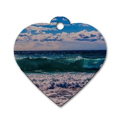 Wave Foam Spray Sea Water Nature Dog Tag Heart (one Side)
