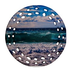 Wave Foam Spray Sea Water Nature Round Filigree Ornament (two Sides)