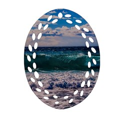 Wave Foam Spray Sea Water Nature Oval Filigree Ornament (two Sides)