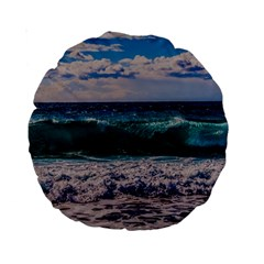 Wave Foam Spray Sea Water Nature Standard 15  Premium Round Cushions