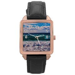 Wave Foam Spray Sea Water Nature Rose Gold Leather Watch