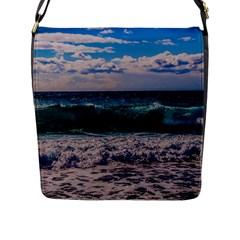 Wave Foam Spray Sea Water Nature Flap Messenger Bag (l)