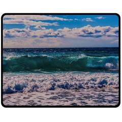 Wave Foam Spray Sea Water Nature Double Sided Fleece Blanket (Medium)
