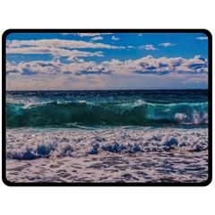 Wave Foam Spray Sea Water Nature Double Sided Fleece Blanket (large)