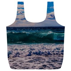 Wave Foam Spray Sea Water Nature Full Print Recycle Bags (l)