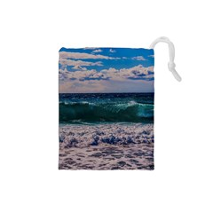 Wave Foam Spray Sea Water Nature Drawstring Pouches (Small)