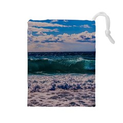 Wave Foam Spray Sea Water Nature Drawstring Pouches (large)