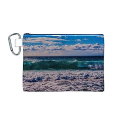 Wave Foam Spray Sea Water Nature Canvas Cosmetic Bag (m)