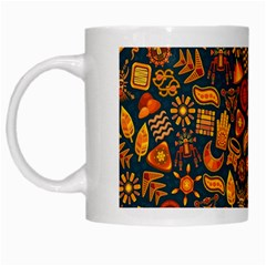 Pattern Background Ethnic Tribal White Mugs