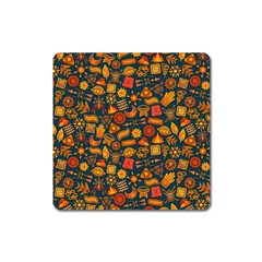 Pattern Background Ethnic Tribal Square Magnet