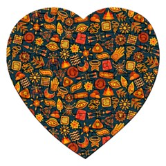 Pattern Background Ethnic Tribal Jigsaw Puzzle (heart)