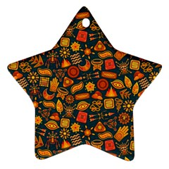 Pattern Background Ethnic Tribal Star Ornament (two Sides)