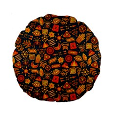 Pattern Background Ethnic Tribal Standard 15  Premium Round Cushions
