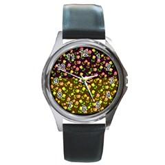 Flowers Roses Floral Flowery Round Metal Watch