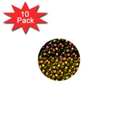 Flowers Roses Floral Flowery 1  Mini Buttons (10 Pack)