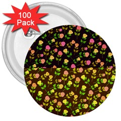 Flowers Roses Floral Flowery 3  Buttons (100 Pack)